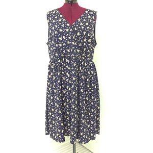 2XLMODCLOTH Blue Floral Sleeveless V Neck Dress